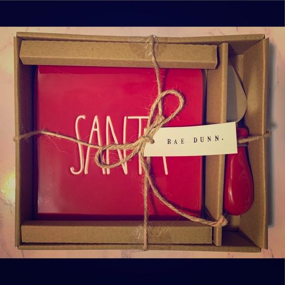 Rae Dunn Other - Rae Dunn Red Santa Cheese Plate w/ Cheese Knife